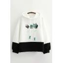Womens Hooded Sweatshirt Stylish Panda Bamboo Print contrast Hem Drawstring Loose Fit Long Sleeve Hooded Sweatshirt