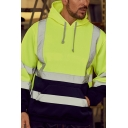 Men's Classic Reflective Tape High Visibility Hooded Pullover Safety Hoodie with Pocket