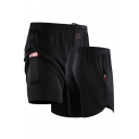 Basic Mens Shorts False Two Pieces Quick-Dry Regular Fitted Drawstring Waist Sport Shorts