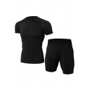 Mens Co-ords Casual Contrasted Topstitching Quick-Dry Stretch Short Sleeve Round Neck Tee Slim Fitted Shorts Workout Co-ords