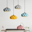 Origami Lantern Iron Pendant Light Kit Macaron 1-Light Grey/Pink/Yellow Down Lighting over Dining Table