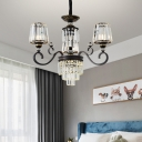 Simplicity 3/6 Bulbs Chandelier Lighting Black Tapered Pendant Light Fixture with Clear Crystal Shade