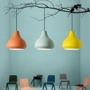 Aluminum Onion-Shape Pendant Light Fixture Macaron Single Black/Orange/Green Down Lighting for Kids Playroom