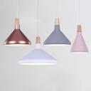 Aluminum Cone Down Lighting Nordic 1-Light Black/Grey/White Hanging Pendant Light with Wood Cork