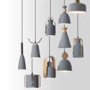 3 Bulbs Dining Room Ceiling Light Nordic Black Multi-Pendant with Bell/Cylinder/Milk Can Metal Shade
