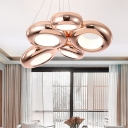 5 Lights Donut Chandelier Lighting Modernism Metal Rose Gold Led Hanging Pendant Light