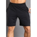 Basic Mens Shorts Air Mesh Patchwork Regular Fitted Drawstring Waist Knee-Length Sport Shorts with Pockets