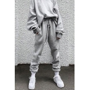 Trendy Women's Co-ords Solid Color Round Neck Long Sleeve Oversized Pullover Sweatshirt with Pants Set