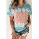 Cozy Women's T-Shirt Tie Dye Printed Round Neck Short Sleeves Regular Fitted Tee Top