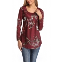 Cozy Women's Tee Top All over Floral Pattern Buttons Scoop Neck Long Sleeved Henley Tee Top