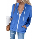 Casual Women's Jacket Solid Color Drawstring Hooded Front Pockets Zip Closure Long Sleeves Jacket