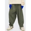 Vintage All-Match Pants Corduroy Side Pockets Solid Color Mid-Rise Straight Relaxed Fit for Men