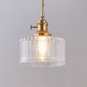 Wavy Glass Clear/Green Hanging Lamp Cylindrical Single Transitional Pendant Light Fixture