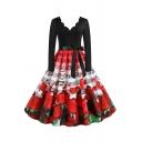 Vintage Womens Dress Sheet Music Rose Cat Heart Pattern Bow Tie Waist Midi A-Line Slim Fitted Scalloped V Neck Long Sleeve Swing Dress