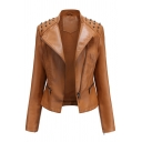 Womens Jacket Casual Rivet Decoration Zipper up Notched Lapel Collar Long Sleeve Slim Fit Leather Jacket