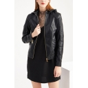 Novelty Womens Jacket Solid Color Thickened Zipper up Hooded Slim Fit Long Sleeve Leather Jacket