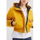 Retro Womens Jacket Velcro Placket Zipper up Hooded Slim Fit Cropped Long Sleeve Padded Jacket