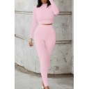 Unique Womens Co-ords Plain Breathable Slim Fitted Pants Stand Collar Long Sleeve Cropped Tee Co-ords