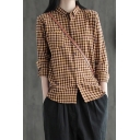 Classic Womens Shirt Plaid Pattern Cotton Linen Button up Point Collar Long Sleeve Loose Fit Shirt