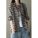 Unique Womens Shirt Checkered Print Drawstring Hem Frog Button down Long Sleeve Stand Collar Regular Fit Shirt