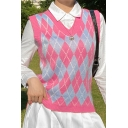 Womens Sweater Vest Stylish Color Block Argyle Pattern Sleeveless Slim Fitted Round Neck Sweater Vest