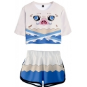 Creative 3D Graphic Co-ords Short Sleeves Round Neck T-Shirt with Shorts Two Piece Set for Women