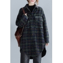 Trendy Women's Jacket Plaid Pattern Chest Flap Pockets Asymmetrical Button-down Turn-down Collar Long Sleeves Relaxed Fitted Jacket