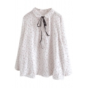 Unique Womens Shirt Ditsy Floral Print Tie Detail Button up Doll Collar Long Sleeve Loose Fit Shirt