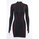 Womens Popular Color Block Tape Printed Long Sleeve Zip Placket Black Mini Bodycon Dress