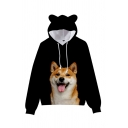 Womens Hooded Sweatshirt Creative Shiba Inu Dog Pattern Cat Ear Drawstring Loose Fit Long Sleeve Hooded Sweatshirt