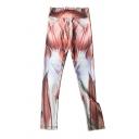 Human Muscle Print Elastic Waist Skinny Yoga Leggings