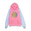 Novelty Womens Hoodie Letter Treat People with Kindness Pattern Drawstring Kangaroo Pocket Loose Fit Long Raglan-Sleeve Hooded Sweatshirt