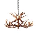 3/4/8 Bulbs Resin Hanging Lamp Countryside White/Brown Antler Restaurant Pendant Chandelier