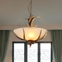 3 Lights Opaline Glass Chandelier Rural Brown Wide Bowl Bistro Ceiling Suspension Lamp with Antler Decor
