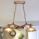 Rustic Antler Island Light 2 Heads Resin Suspension Pendant in Brown with Bowl White Glass Shade