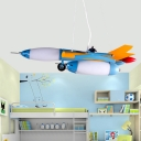 Kids Creative Fighter Plane Chandelier Opal Frosted Glass Boys Room LED Hanging Light Kit in Blue/Red