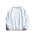 Mens Thin Sweatshirt Creative Solid Color Rib Trim Long Sleeve Relaxed Fit Crew Neck Pullover Sweatshirt