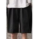 Mens Shorts Unique Plain Pleated Detail Snap Hem Knee-Length Drawstring Waist Regular Fitted Sport Shorts