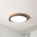 Circle Acrylic Flush Mount Light Nordic Grey/Green LED Ceiling Fixture with Faux-Wood Shell in Warm/White Light, 16.5