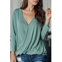 Office Lady Wrapped Workwear Basic Solid Color Pleated Back V Neck Long Sleeve Loose Fit Shirt
