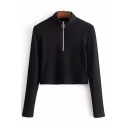 High Neck Long Sleeve Zipper Front Plain Ribbed Crop Sweatshirt