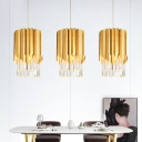Modernity Cylinder Hanging Light Kit Fluted Crystal 1 Head Dining Room Ceiling Pendant in Gold