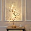Modernity Tree Night Lamp Clear Crystal Bead 6-Light Bedside Table Lighting in Gold