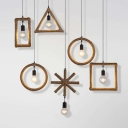 Single Hemp Rope Down Lighting Rural Brown Round/Triangle/Square Exposed Bulb Design Dining Room Drop Pendant