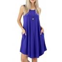 Basic Women's Swing Dress Solid Color Crew Neck Sleeveless Midi Swing Dress