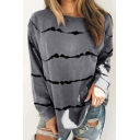 Cozy Sweatshirt Stripe Pattern Crew Neck Long-sleeved Regular Fitted Pullover Sweatshirt for Women