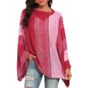 Womens Chic Knitwear Color-Blocking Button Detail Scarf Neck Full Batwing Sleeve Sweater in Red