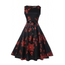 Novelty Womens Dress Floral Line Pattern Bow-Tie Waist Midi Slim Fitted Round Neck Sleeveless A-Line Swing Dress