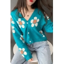 Girls Casual Flower Smile Face Printed Long Sleeve Button Front Blue Loose Cropped Cardigan Coat