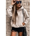 Classic Womens Hoodie Solid Color Long Sleeve Relaxed Fitted Hooded Sweatshirt with Kangaroo Pocket